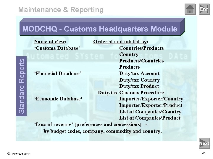 Maintenance & Reporting End MODCHQ - Customs Headquarters Module Standard Reports Name of view: