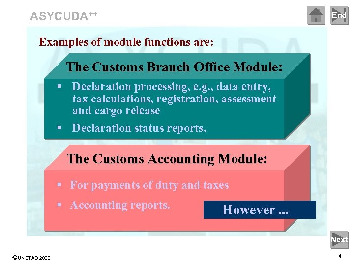 ASYCUDA++ End Examples of module functions are: The Customs Branch Office Module: § Declaration