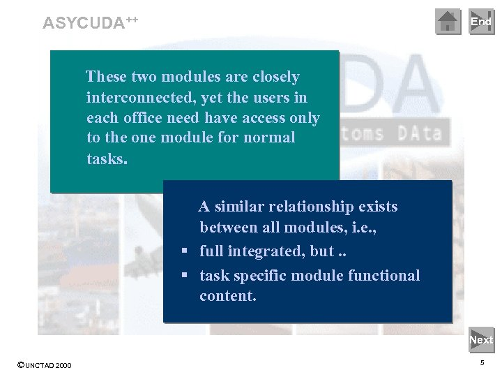 ASYCUDA++ End These two modules are closely interconnected, yet the users in each office
