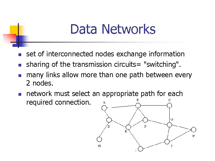 Data Networks n n set of interconnected nodes exchange information sharing of the transmission
