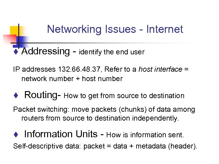 Networking Issues - Internet t Addressing - identify the end user IP addresses 132.