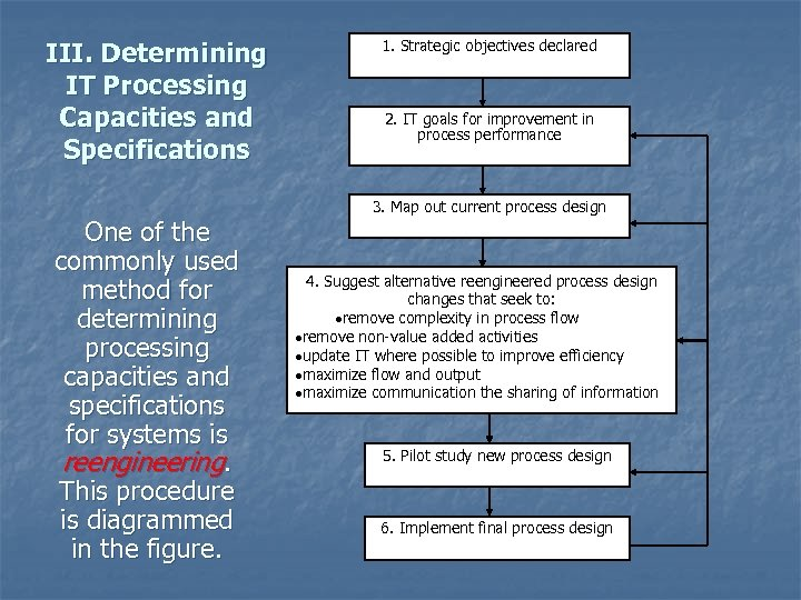 III. Determining IT Processing Capacities and Specifications One of the commonly used method for