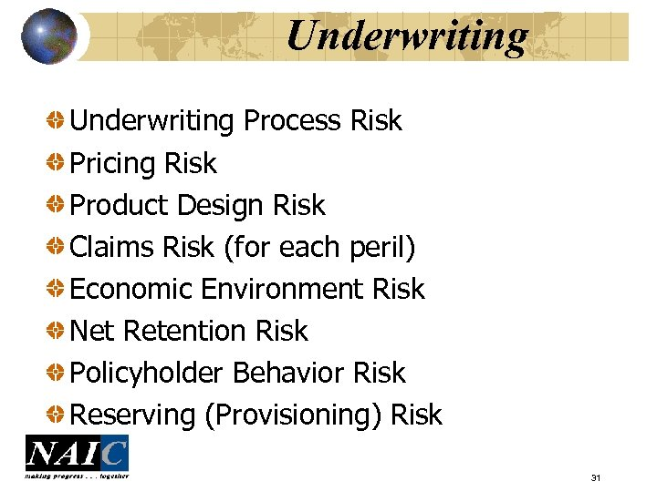 Underwriting Process Risk Pricing Risk Product Design Risk Claims Risk (for each peril) Economic