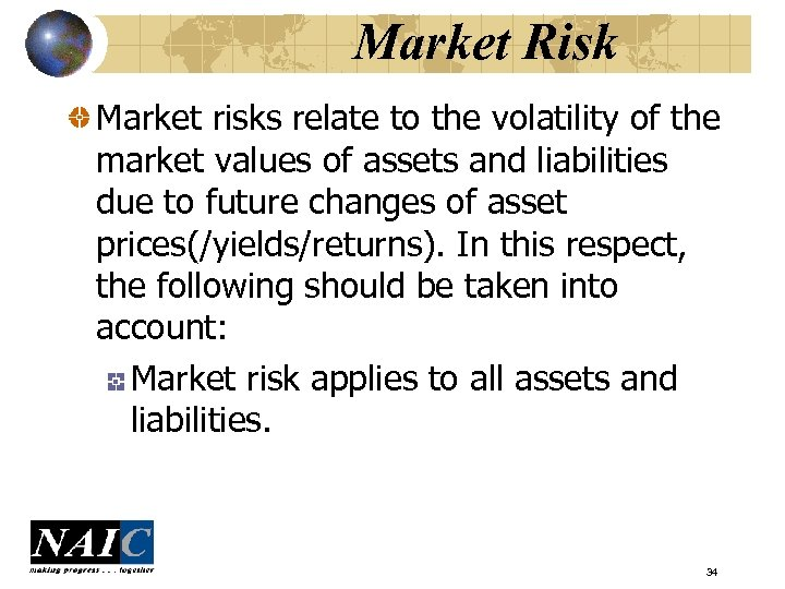 Market Risk Market risks relate to the volatility of the market values of assets