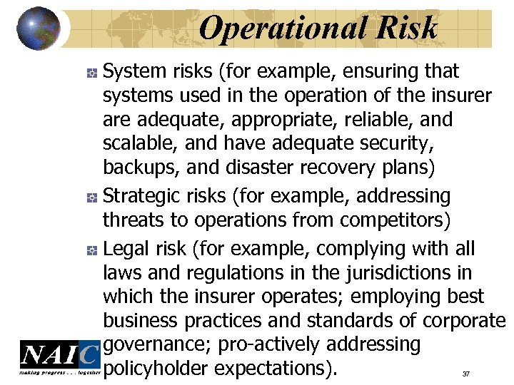 Operational Risk System risks (for example, ensuring that systems used in the operation of