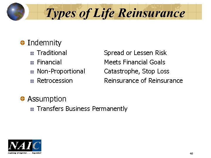 Types of Life Reinsurance Indemnity Traditional Financial Non-Proportional Retrocession Spread or Lessen Risk Meets