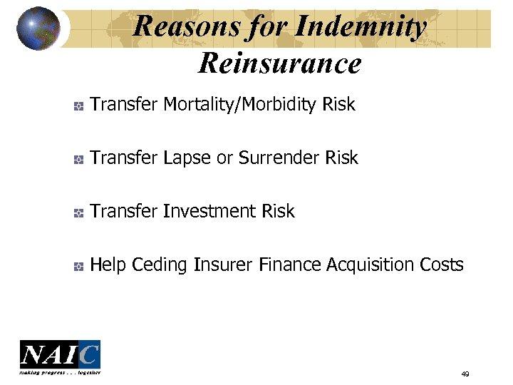 Reasons for Indemnity Reinsurance Transfer Mortality/Morbidity Risk Transfer Lapse or Surrender Risk Transfer Investment