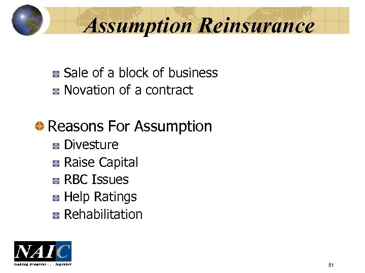 Assumption Reinsurance Sale of a block of business Novation of a contract Reasons For