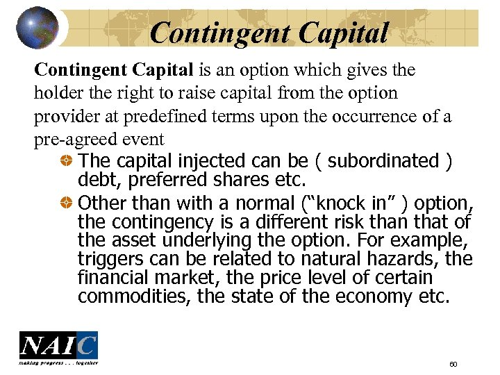 Contingent Capital is an option which gives the holder the right to raise capital