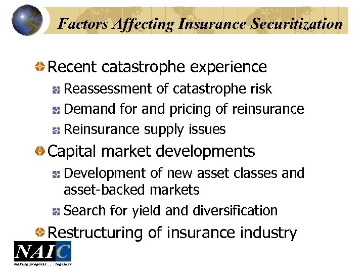 Factors Affecting Insurance Securitization Recent catastrophe experience Reassessment of catastrophe risk Demand for and
