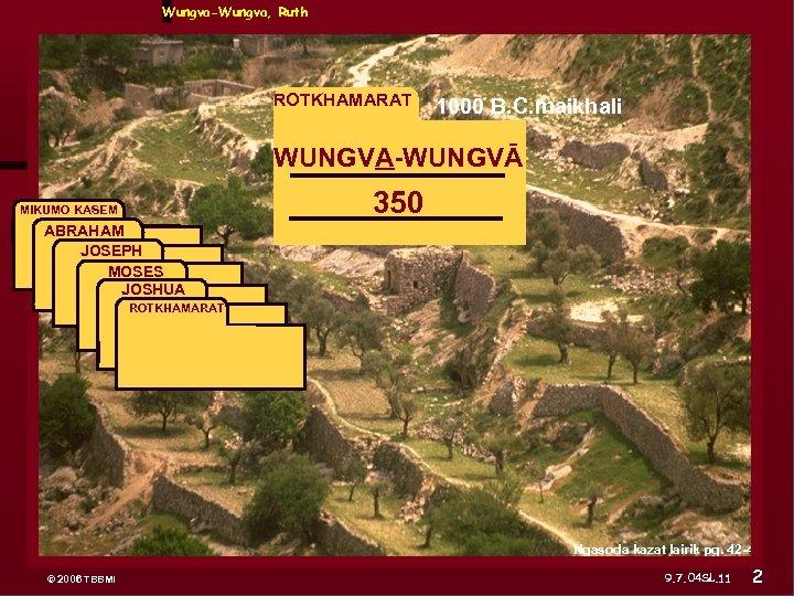 Wungva-Wungva, Ruth ROTKHAMARAT 1000 B. C. maikhali WUNGVA-WUNGVĀ MIKUMO KASEM ABRAHAM JOSEPH ABRAHAM 350