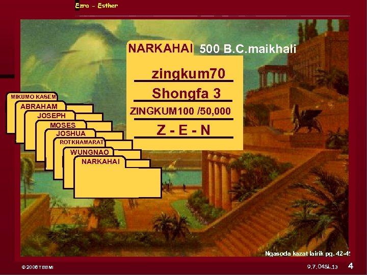 Ezra - Esther NARKAHAI 500 B. C. maikhali MIKUMO KASEM ABRAHAM JOSEPH ABRAHAM MOSES