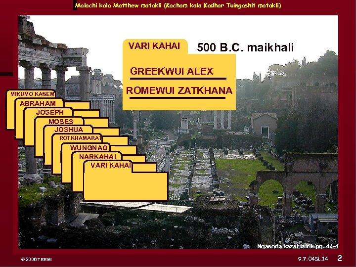 Malachi kala Matthew matakli (Kacham kala Kadhar Tuingashit matakli) VARI KAHAI 500 B. C.