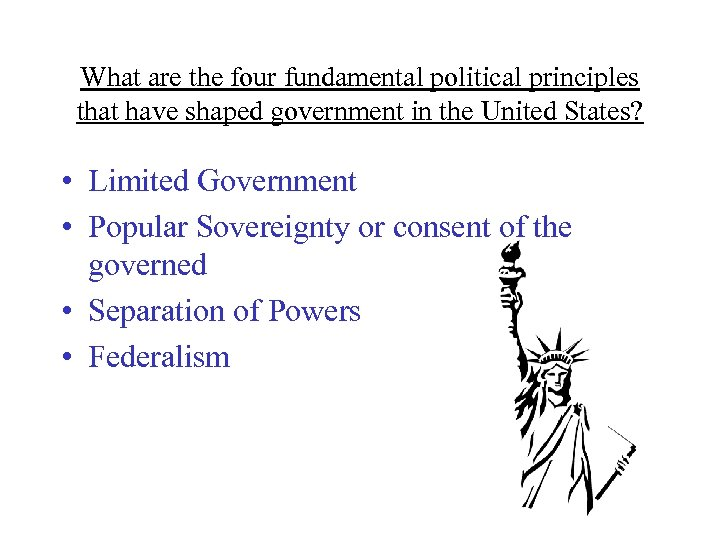 What are the four fundamental political principles that have shaped government in the United
