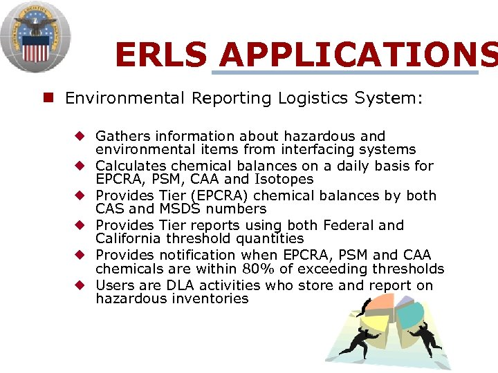 ERLS APPLICATIONS n Environmental Reporting Logistics System: ¿ Gathers information about hazardous and environmental