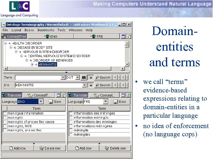 """Domainentities and terms • we call """"terms"""" evidence-based expressions relating to domain-entities in a"""