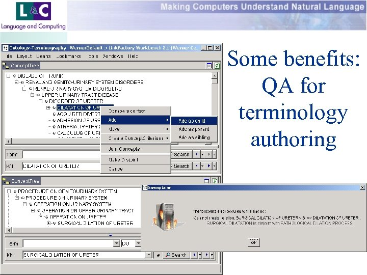 Some benefits: QA for terminology authoring www. landc. be