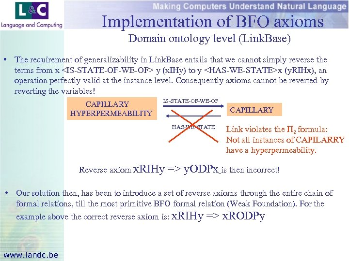 Implementation of BFO axioms Domain ontology level (Link. Base) • The requirement of generalizability
