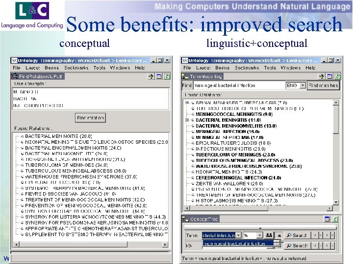 Some benefits: improved search conceptual www. landc. be linguistic+conceptual