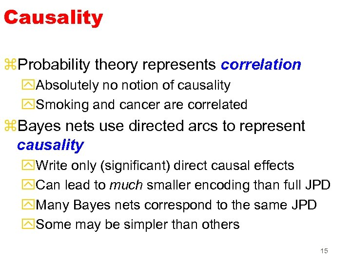 Causality z. Probability theory represents correlation y. Absolutely no notion of causality y. Smoking