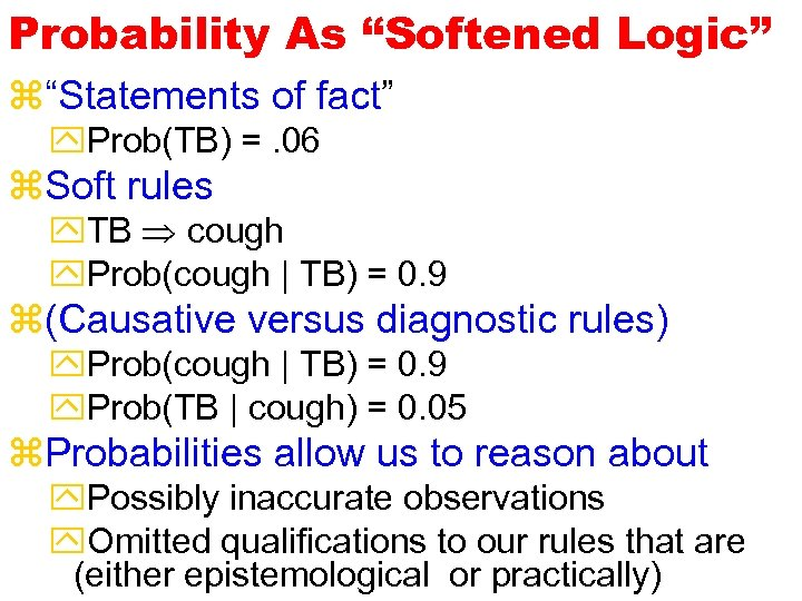 "Probability As ""Softened Logic"" z""Statements of fact"" y. Prob(TB) =. 06 z. Soft rules"