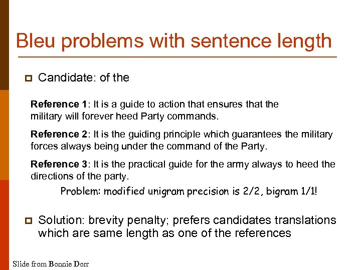 Bleu problems with sentence length p Candidate: of the Reference 1: It is a