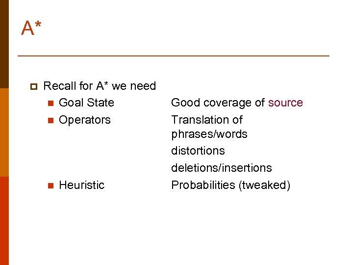 A* p Recall for A* we need n Goal State n Operators n Heuristic