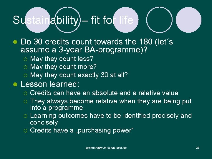Sustainability – fit for life l Do 30 credits count towards the 180 (let´s