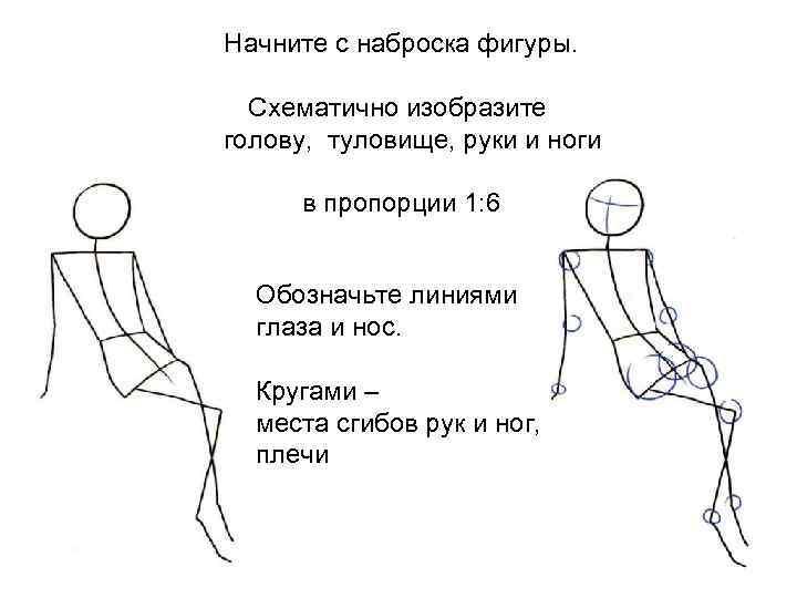 Начните с наброска фигуры. Схематично изобразите голову, туловище, руки и ноги в пропорции 1: