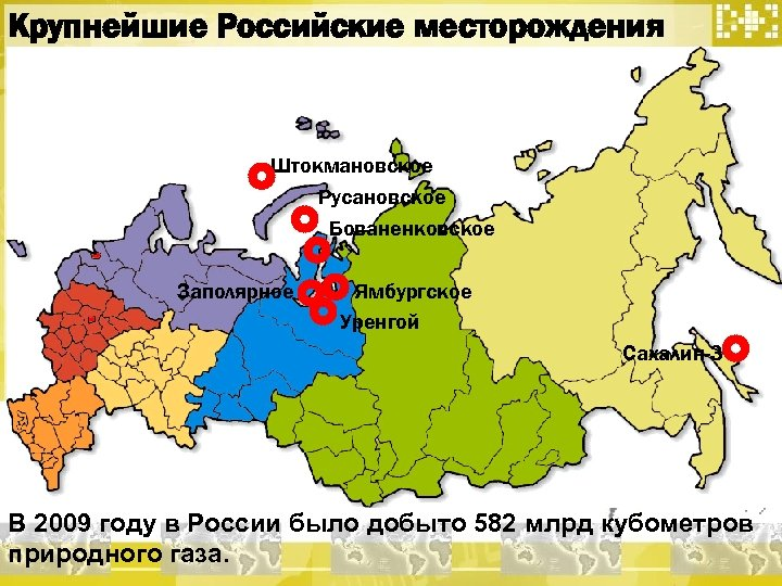 Крупнейшие Российские месторождения Штокмановское Русановское Бованенковское Заполярное Ямбургское Уренгой Сахалин-3 В 2009 году в