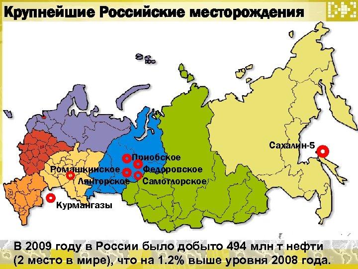 Крупнейшие Российские месторождения Сахалин-5 Приобское Ромашкинское Федоровское Лянторское Самотлорское Курмангазы В 2009 году в