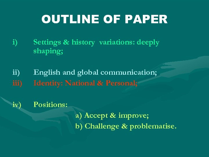 OUTLINE OF PAPER i) Settings & history variations: deeply shaping; ii) iii) English and