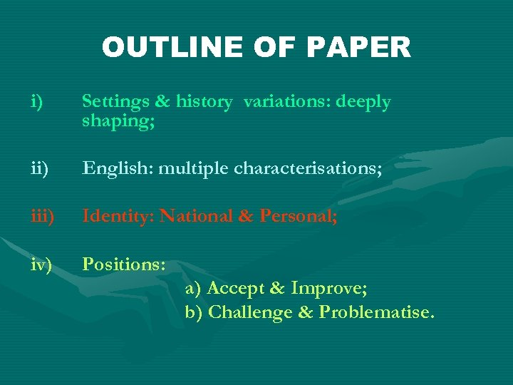 OUTLINE OF PAPER i) Settings & history variations: deeply shaping; ii) English: multiple characterisations;