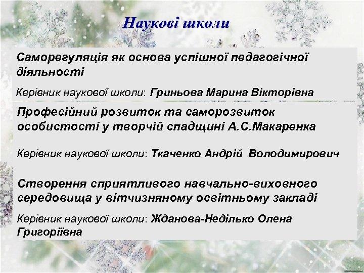 Наукові школи Саморегуляція як основа успішної педагогічної діяльності Керівник наукової школи: Гриньова Марина Вікторівна