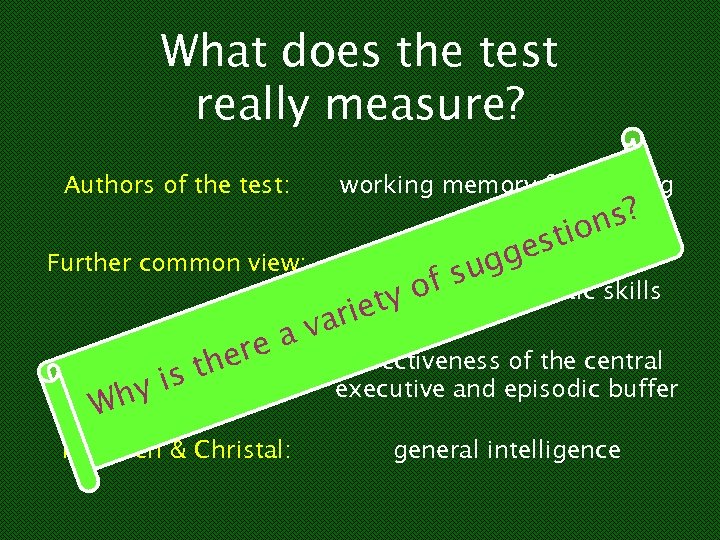 What does the test really measure? Authors of the test: Further common view: ere