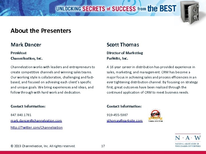 About the Presenters Mark Dancer Scott Thomas President Channelvation, Inc. Director of Marketing Parksite,