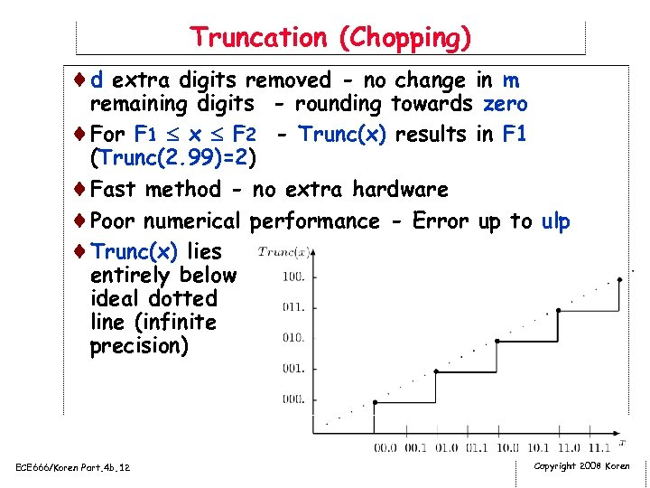 Truncation (Chopping) ¨d extra digits removed - no change in m remaining digits -