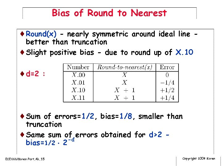 Bias of Round to Nearest ¨Round(x) - nearly symmetric around ideal line better than