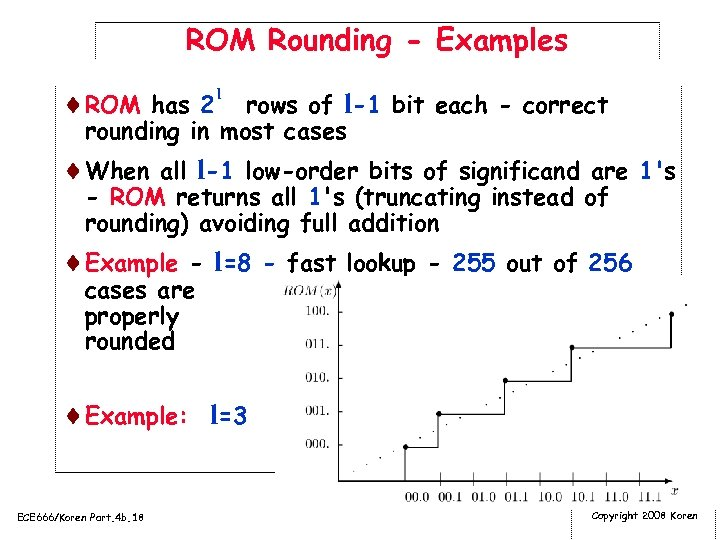 ROM Rounding - Examples ¨ROM has 2 l rows of l-1 bit each -