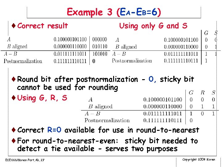 Example 3 (EA-EB=6) ¨Correct result Using only G and S ¨Round bit after postnormalization