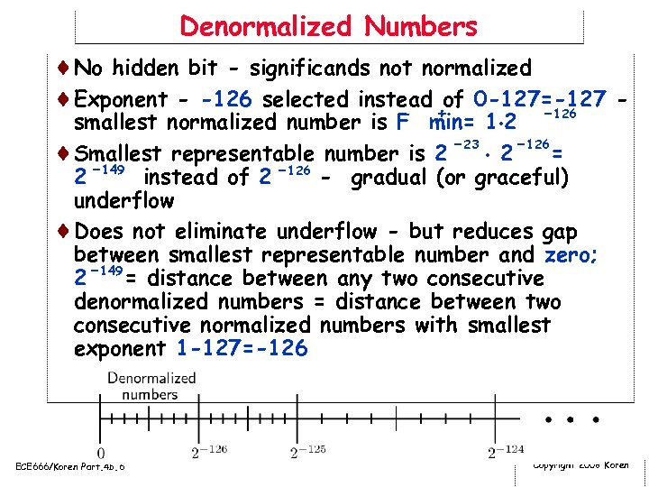 Denormalized Numbers ¨No hidden bit - significands not normalized ¨Exponent - -126 selected instead