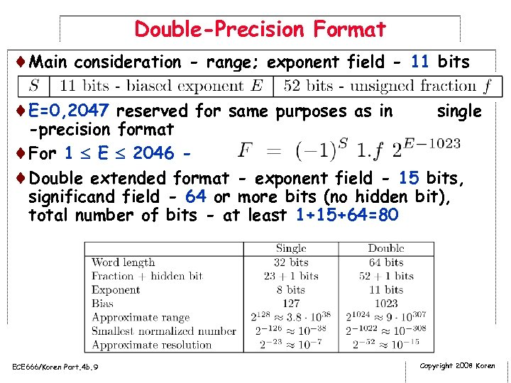 Double-Precision Format ¨Main consideration - range; exponent field - 11 bits ¨E=0, 2047 reserved