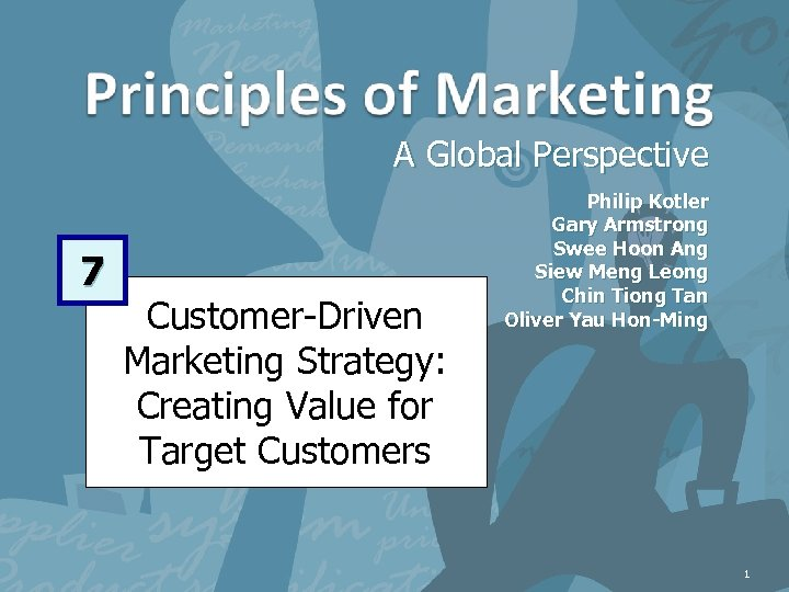 A Global Perspective 7 Customer-Driven Marketing Strategy: Creating Value for Target Customers Philip Kotler