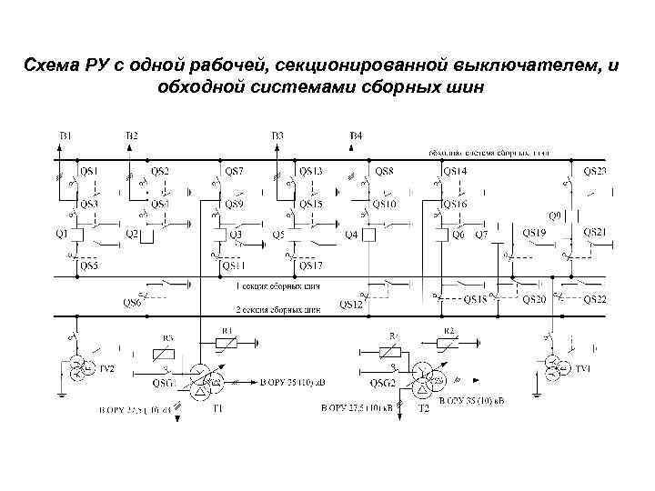 Схема РУ с одной рабочей, секционированной выключателем, и обходной системами сборных шин