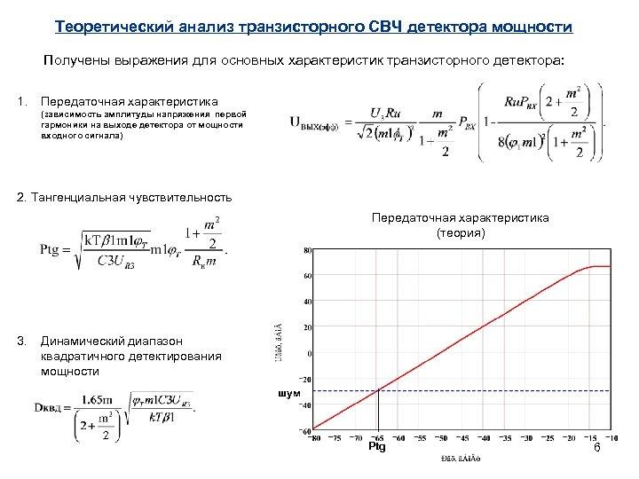 Теоретический анализ транзисторного СВЧ детектора мощности Получены выражения для основных характеристик транзисторного детектора: 1.