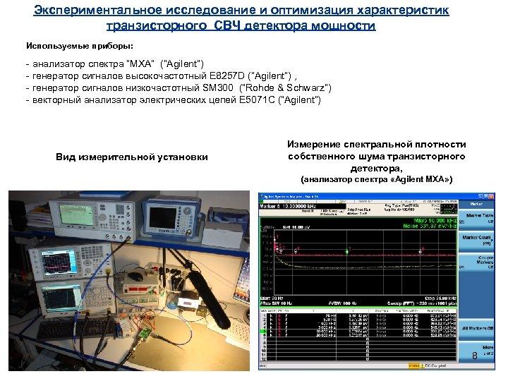 Экспериментальное исследование и оптимизация характеристик транзисторного СВЧ детектора мощности Используемые приборы: - анализатор спектра