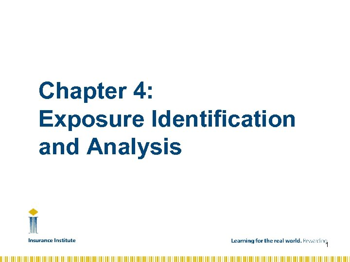 Chapter 4: Exposure Identification and Analysis 1