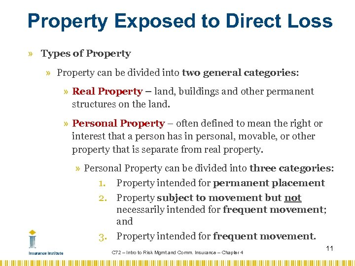 Property Exposed to Direct Loss » Types of Property » Property can be divided