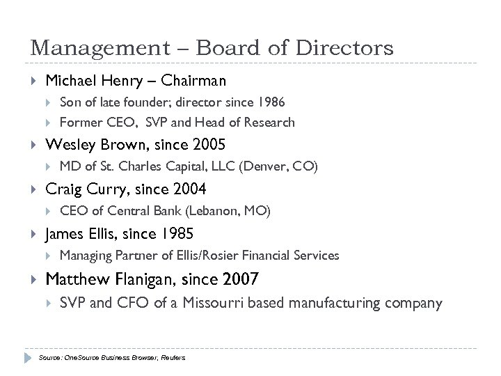 Management – Board of Directors Michael Henry – Chairman Wesley Brown, since 2005 CEO