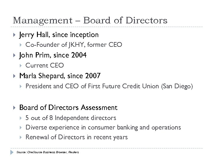 Management – Board of Directors Jerry Hall, sinception John Prim, since 2004 Current CEO